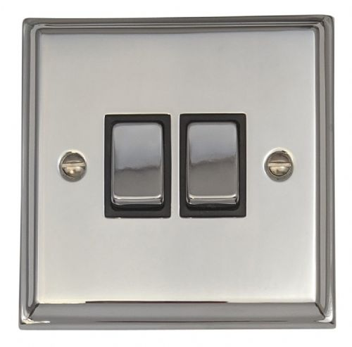 G&H DC302 Deco Plate Polished Chrome 2 Gang 1 or 2 Way Rocker Light Switch